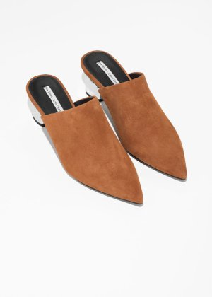 Pointed Block Heel Mules  - Bronze / Silver - Mules - & Other Stories
