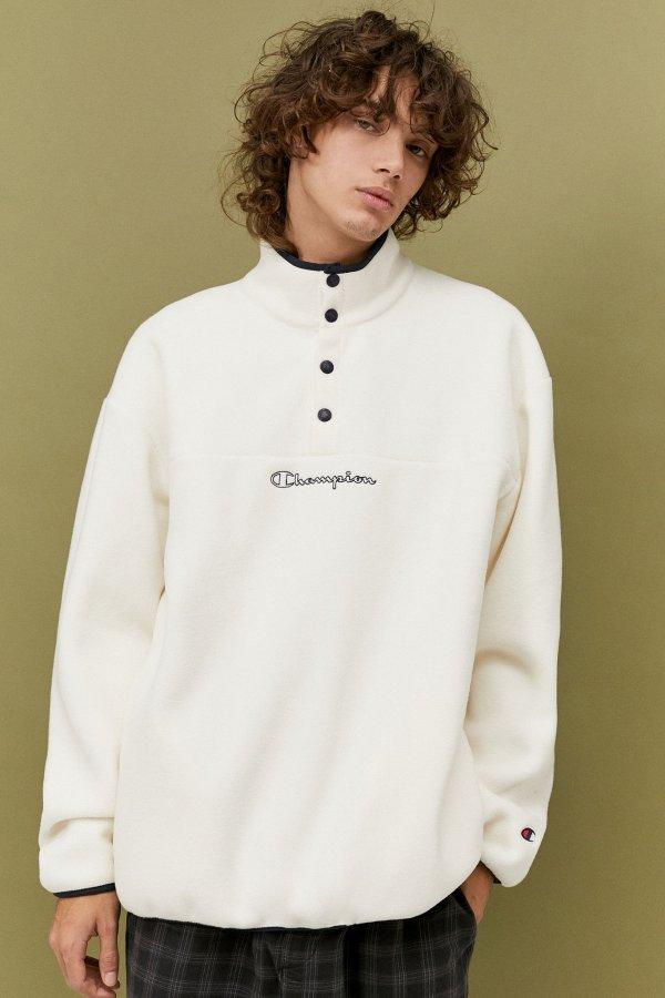 Champion奶白摇粒绒卫衣