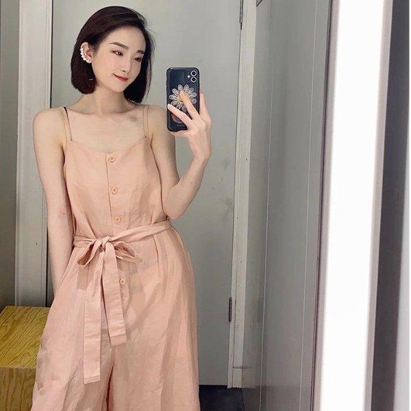 蜜桃色连体裤