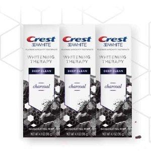 $15.91Crest 3D 天然活性炭美白牙膏 薄荷味 4.1oz 3支
