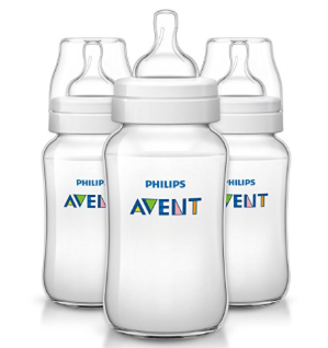 $9.59 Philips Avent Anti-colic Baby Bottles Clear, 11oz, 3 Piece