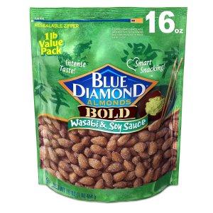 白菜价$5.99 美亚精品坚果Blue Diamond Almonds 美国大杏仁 芥末酱油口味 16oz