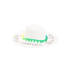 Girls Sequin Floppy Straw Hat