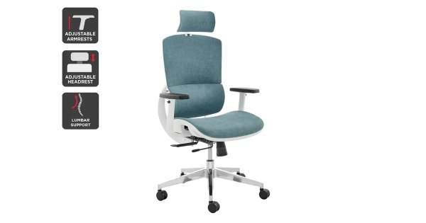 Emerson Office Chair (White Frame, Blue) | Chairs |