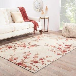 Juneberrytransitional Floral rectangle Area Rug