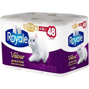 $9.97(原价$14.97)补货:Royale Velour 加厚卫生纸 12大卷 相当于普通48卷