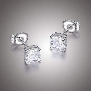 e4fd862e1 Platinum Plated Sterling Silver Cushion Cut Cubic Zirconia Stud Earrings