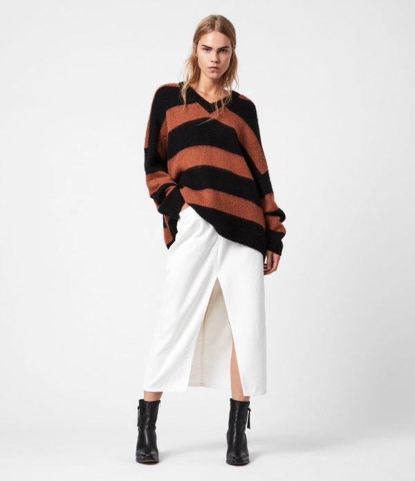 Lou V领条纹毛衣