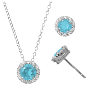 精美蓝宝石项链+耳坠套装