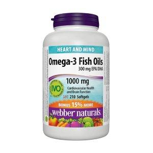 $11.39(原价$19.99) 210粒装Webber Naturals 鱼油Omega-3胶囊 1000mg 健脑改善记忆力