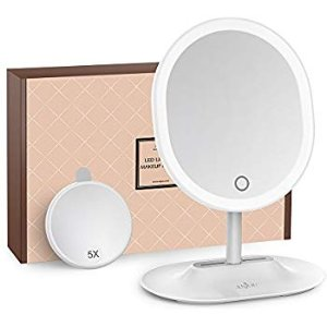Amazon.com : Makeup Mirror Rechargeable LED Lighted with 1X / 5 X Magnification, Anjou USB Rechargeable Vanity Mirror Touchscreen Dimmable LED Light for Countertop Cosmetic Makeup : Beauty