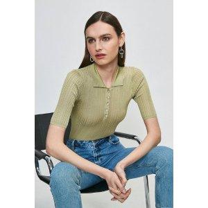 Karen Millen牛油果绿针织衫