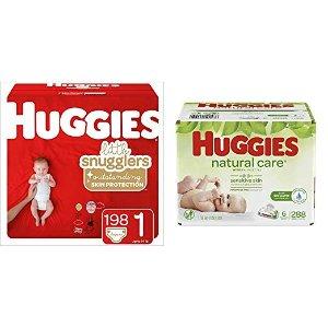 额外减$6后$27.97起 尺寸齐全Huggies婴儿纸尿裤+288抽无香湿巾组合