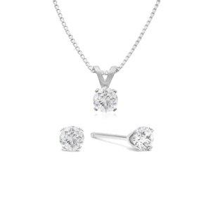 SuperJeweler钻石项链、耳钉套装