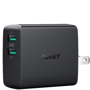 AUKEY USB Wall Charger, Ultra Compact Dual Port 4.8A Output & Foldable Plug