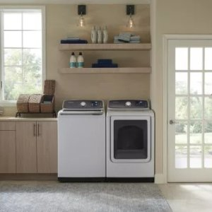 Samsung DVE52M7750W 27 Inch Electric Dryer with Multi-Steam™, Wrinkle Prevent Option, Sensor Dry, 13 Dry Cycles, Smart Care, 4-Way Venting, Interior Drum Light, Eco Dry, Reversible Door, ENERGY STAR® and 7.4 cu. ft. Capacity: White