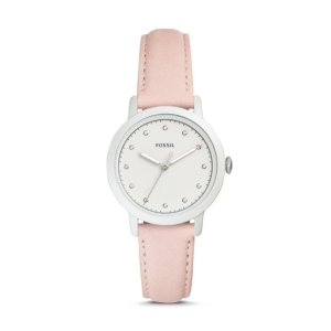 FossilNeely Three-Hand Blush Leather Watch