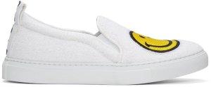 Joshua Sanders: White Smile Slip-On Sneakers | SSENSE