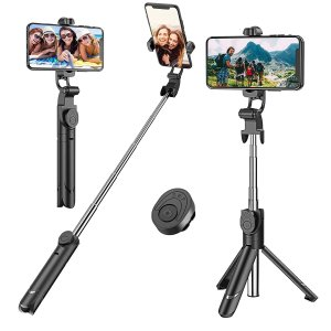 Selfie Stick, Extendable Selfie Stick Tripod with Detachable Wireless Remote and Tripod Stand