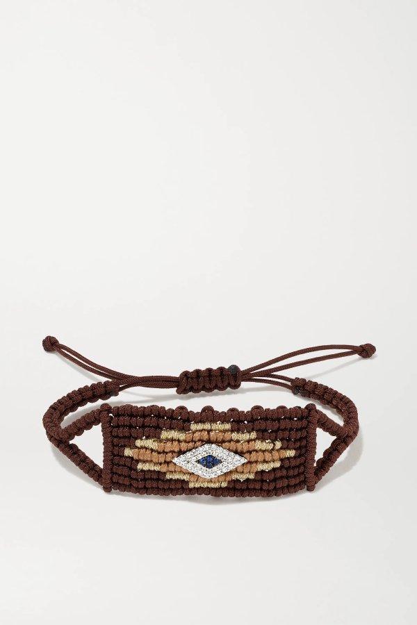 恶魔之眼 14K 白金、钻石、蓝宝石编织手绳