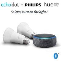 Amazon Echo Dot 3代 + 2x Philips Hue 智能灯泡