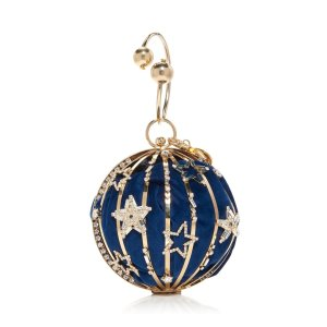 RosanticaLunaria Embellished Gold-Tone Top Handle Bag