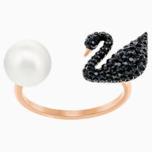 Swarovski补货 码全黑天鹅珍珠戒指