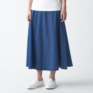 MujiStretch Light Oz Denim Flair Skirt - MUJI Online