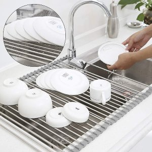 """$7.79Roll Up Dish Drying Rack Over The Sink, 17.7"""" x 11.8"""" Foldable Multipurpose Kitchen Tools"""