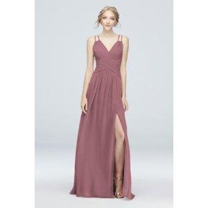 Davids BridalPlunging V-Neck Crinkle Chiffon Bridesmaid Dress