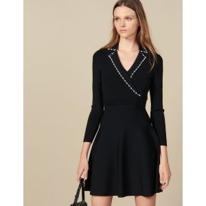 SandroShort Knit Dress With Tailored Collar