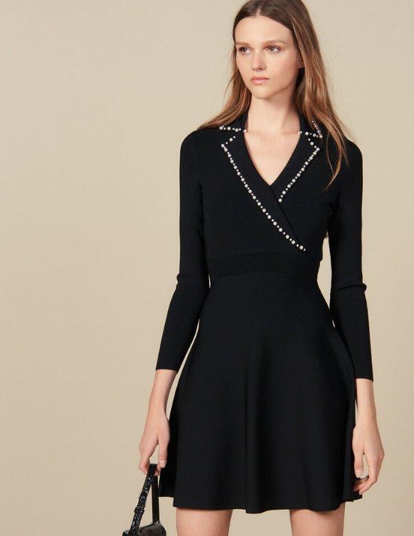 珍珠装饰连衣裙