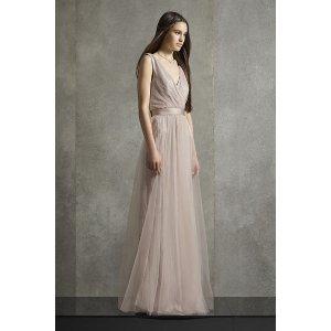 White by Vera WangPleated Metallic Tank Belted Bridesmaid Dress