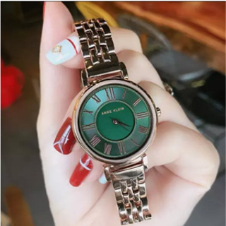 美国直邮¥249史低价:Anne Klein 复古绿镶钻腕表 森女系必入