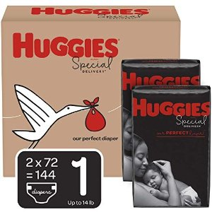 HuggiesSpecial Delivery Hypoallergenic Baby Diapers, Size 1 (8-14 lbs.), 144 Count, Economy Plus Pack