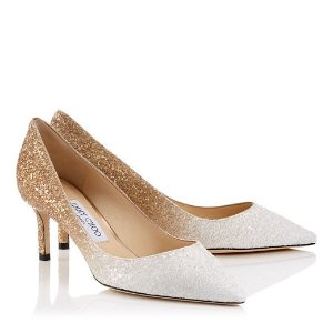 White and Light Gold Coarse Glitter Dégradé Pointy Toe Pumps | Romy 60 | Pre Fall 18 | JIMMY CHOO