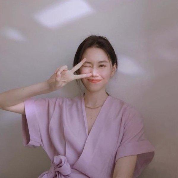 香芋紫连衣裙
