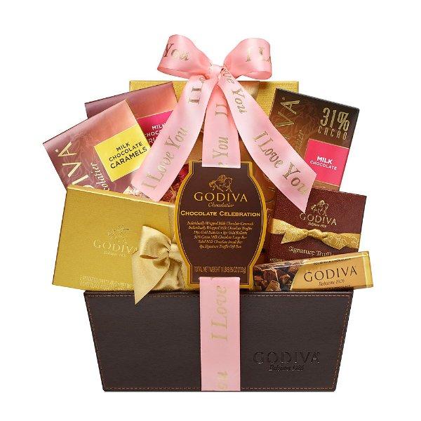 粉绸告白豪华巧克力礼篮
