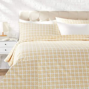 AmazonBasics Organic Percale Duvet Comforter Cover Set, Full / Queen, Petal Geo