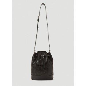 Gucci黑色印花logo水桶包