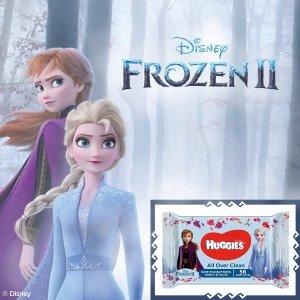 10包仅€17.57 温和不刺激HUGGIES 冰雪奇缘限量湿巾热卖 擦手擦嘴哪都能擦