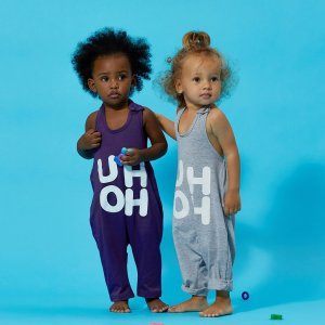 Baby / Toddler Girl Trendy Letter Print Strappy Onesies
