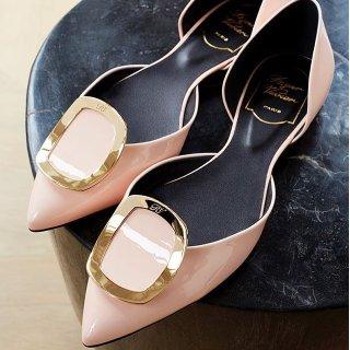 最高立减$200  收裸色方扣平底$450Roger Vivier 精选美鞋热卖 经典方扣chips、小方跟多色码全