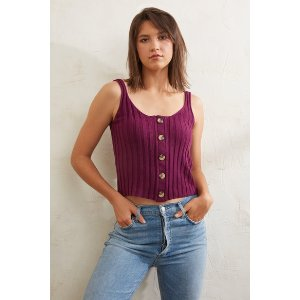 Juniper BluPurple Button Front Sweater Tank Top