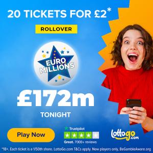 彩票 £2 有机会赢得£172MEuroMillions 奖池超 £172M 试手气的时候到了