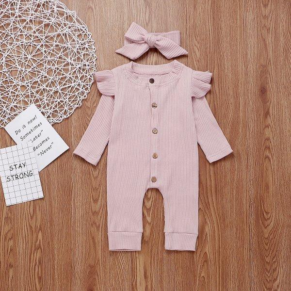 女婴连体衣+发带