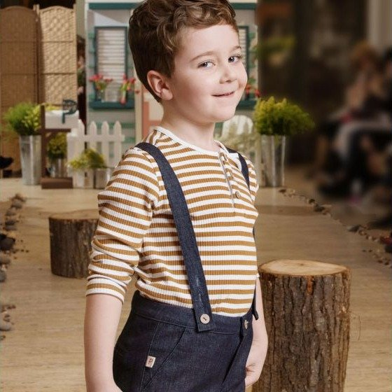 儿童条纹亨利领T恤