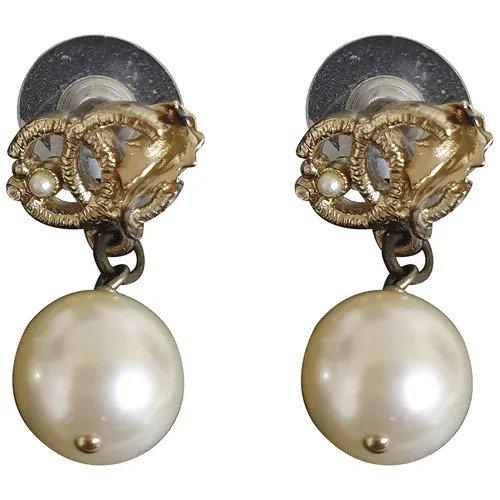 珍珠双C耳环