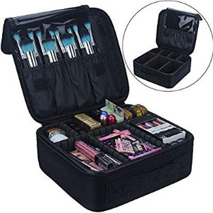 $14.23Travel Makeup Train Case Makeup Cosmetic Case Organizer Portable Artist Storage Bag 10.3'' with Adjustable Dividers for Cosmetics Makeup Brushes Toiletry Jewelry Digital accessories Black