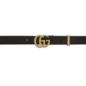 $350(官网定价$430)Gucci双G黑金配色1英寸(2.5cm)经典款腰带,国内官网定价¥4100
